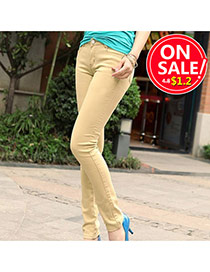Fashion Khaki Candy Color Slim Design Fabric Trousers