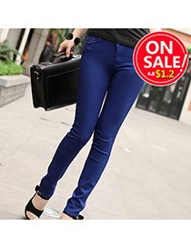 Fashion Sapphire Blue Candy Color Slim Design Fabric Trousers