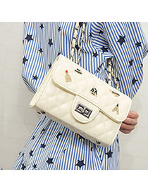 vintage Beige Multielement Decorated Rhombus Design Pu Handbags