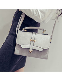 trendy Gray Metal Button Decorated Square Design Pu Handbags