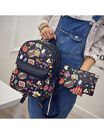 trendy Black Scrawl Pattern Decorated Simple Design Pu Backpack
