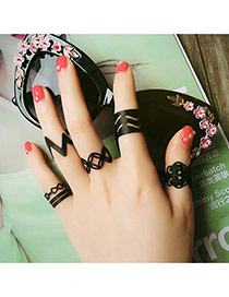 Fashion Black Bowknot Pattern Decorated Hollow Out Multilayer Design