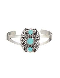 Retro Silver Color Round Stone Decorated Opening Design Alloy Fashion Bangles