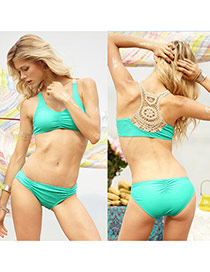 Sexy Green Pure Color Crocheted Flower Pattern Decorated Simple Design Polyester Sexy Bikini