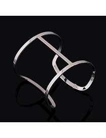 Trending Silver Color Pure Color Hollow Out Opening Design Alloy Fashion Bangles