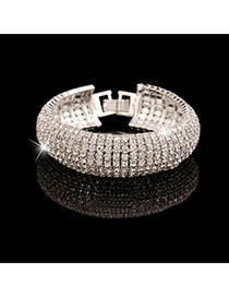 Luxury Silver Color Full Diamond Decorated Simple Design Alloy Fashion Bangles
