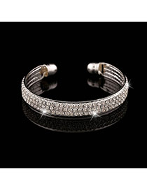 Trending Silver Color Three Layers Diamond Decorated Opening Design