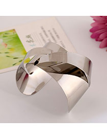 Trending Silver Color Pure Color Opening Design Alloy Fashion Bangles