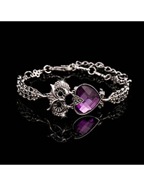 Trending Silver Color+purple Heart Diamond Decorated Owl Design Alloy Korean Fashion Bracelet