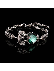 Trending Silver Color+green Heart Diamond Decorated Owl Design Alloy Korean Fashion Bracelet