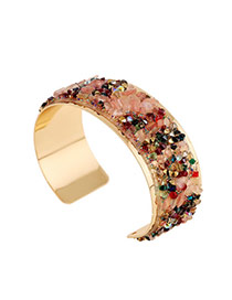 Trending Multicolor Full Stones Decorated Opening Design Alloy Fashion Bangles