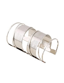 Trending Silver Color Multilayer Opening Long Design Alloy Fashion Bangles