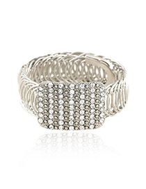 Trending Silver Color Rectangle Shape Decorated Hollow Out Design Alloy Fashion Bangles