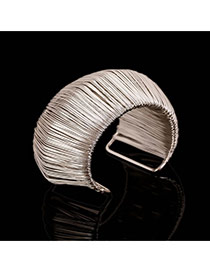 Trending Silver Color Metal Wire Decorated Multilayer Arch Opening Design Alloy Fashion Bangles