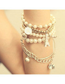 Personality Silver Color Multi-element Decorated Multilayer Design Alloy Fashion Bangles