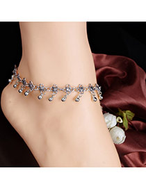 Fashion Silver Color Flower Decorated Simple Design