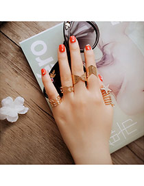 Fashion Gold Color Star Shape Decorated Multilayer Design Alloy Korean Rings