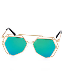 Trendy Green Irregular Geometric Shape Frame Hollow Out Design