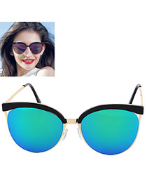 Trendy Blue+green Cat Eye Shape Frame Decorated Simple Design Alloy Ladies Watches