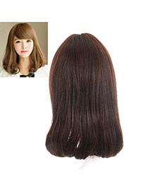 Fashion Dark Brown Tilted Bang Rinka Haircut Curly Design High%2dtemp Fiber Wigs