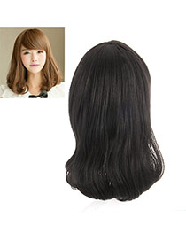 Fashion Black Tilted Bang Rinka Haircut Curly Design High%2dtemp Fiber Wigs