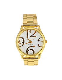 Fashion Gold Clor Big Digital Pattern Decorated Simple Design Alloy Ladies Watches