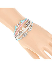 Trendy White+blue Double Owl&wings Decorated Multilayer Design Alloy Korean Fashion Bracelet