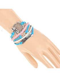 Trendy Blue+pink Hollow Out Owl&believe Letter Decorated Multilayer Design