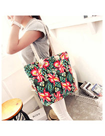 Fashion Black Flower Pattern Decorated Simple Design Beach Bag