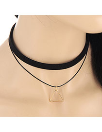 Fashion Black Triangle Pendant Decorated Doule Layer Design Alloy Chokers