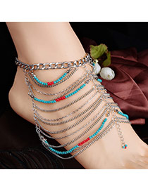 Personality Silver Color Metal Chian Decorated Hollow Out Tassel Design Alloy Fashion Anklets