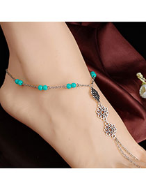 Personality Silver Color Hollow Out Flower Decorated Simple Design Alloy Fashion Anklets