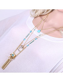 Fashion Gold Color Tassel Pendant Decorated Multilayer Design