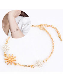 Sweet Gold Color Three Sunflower Shape Decorated Simple Design Alloy Korean Fashion Bracelet