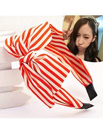 Sweet Red+white Strip Pattern Decorated Double Bowknot Design