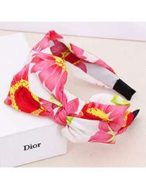 Sweet Red Big Flower Pattern Decorated Double Bowknot Design Fabric Hair band hair hoop