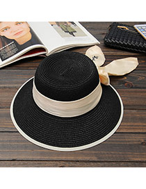Trendy Black Big Bowknot Decorated Simple Design Straw Sun Hats