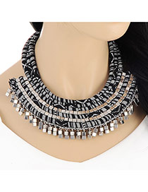Personality Black Square Shape Decorated Multilayer Design
