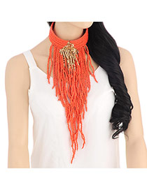 Personality Red Beads Decorated Multilayer Tassel Design Resin Chokers