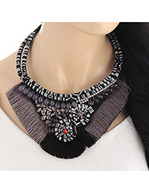 Retro Black Tassel Decorated Double Layer Design