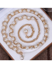 Fashion Beige Beads Decorated Chains Weave Design Alloy Thin belts