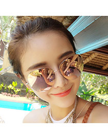 Trend Champagne Semicircular Frame Simple Design Alloy Women Sunglasses