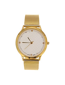 Trend White Diamond Decorated Round Case Design Alloy Ladies Watches