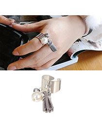 Fashion Gray Tassel Decorated Opening Design Alloy Korean Rings