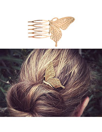 Fashion Gold Color Butterfly Shape Decorated Simple Design Alloy Hair clip hair claw