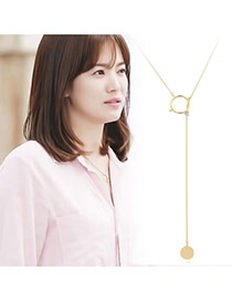 Trending Gold Color Round Pendant Decorated Dots Descendants Of The Sun Copper Bib Necklaces