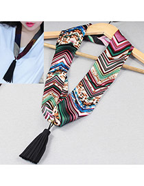 Retro Multicolor Tassel Pendant Decorated Stripe Pattern Design Silk Thin Scaves