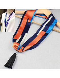 Retro Navy Blue+orange Tassel Pendant Decorated Geometry Pattern Design Silk Thin Scaves