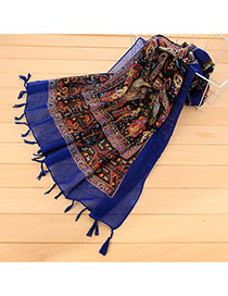 Personality Sapphire Blue Floral Pattern Decorated Tassel Design Cotton Thin Scaves