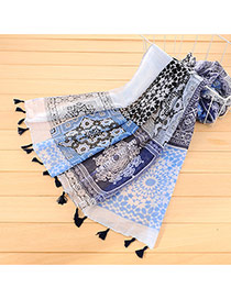 Retro Sapphire Blue Flower Pattern Decorated Tassel Design Cotton Thin Scaves